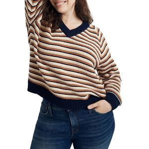 Madewell Arden Striped V-Neck Pullover Sweater